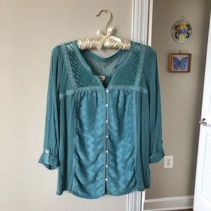 Anthropologie Blue Lace Blouse